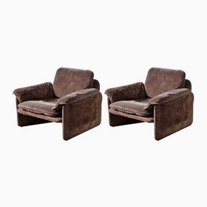 Mid-Century Brown Suede Lounge Chairs from Cassina, Set of 2