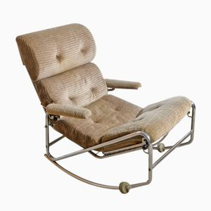 Mid-Century Modern Chrome Frame Rocking Chair, 1960s