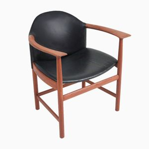 Vintage Armchair in Teak and Black Leather from Søborg Møbelfabrik