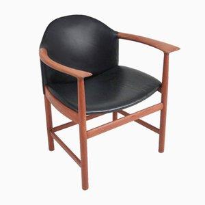 Vintage Sessel aus Teak & Schwarzem Leder von Søborg Møbelfabrik