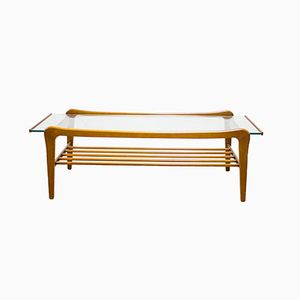 Danish Teak and Glass Coffee Table with Magazine Shelf