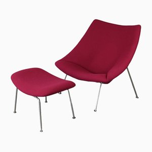 Mid-Century Oyster Chair & Foot Stool by Pierre Paulin for Artifort