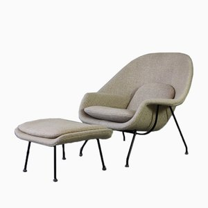 womb chair and foot stool by eero saarinen for knoll inc 1970s