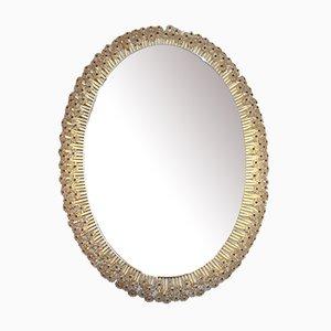 Großer Beleuchteter Ovaler Spiegel mit Blüten, 1960er