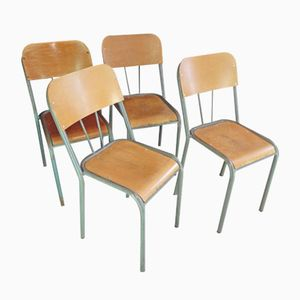 Wood & Metal School Chairs, 1950s, Set of 4