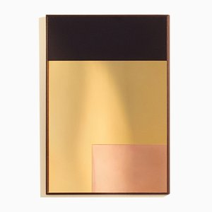 Constructivist Rectangle Modern Wall Mirror in Polished Copper by Nina Cho