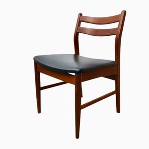 Mid-Century Teak & Black Vinyl Dining Chairs, Set of 4