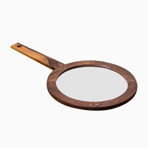 Swedish Rosewood Hand Mirror by Uno & Östen Kristiansson for Luxus, 1960s