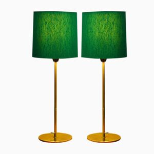 Vintage Swedish Brass Table Lamps, Set of 2