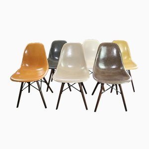 DSW Fiberglass Chairs by Charles & Ray Eames for Herman Miller, 1960s, Set of 6