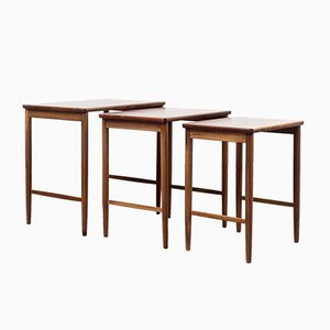 Vintage Rosewood Veneered Nesting Tables