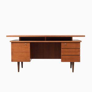 Kubischer Schreibtisch mit Teakfurnier, 1960er