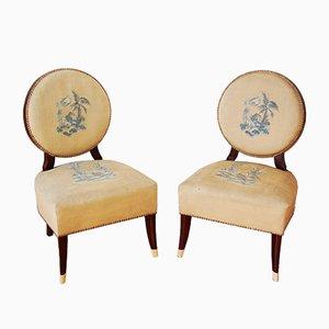 Niedrige Art Deco Mahagoni Stühle, 1940er, 2er Set