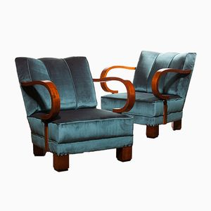Art Deco Blue Velvet Chairs, 1920s, Set of 2