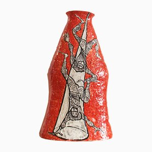 Große Italienische Töpferware Vase von Titano Cesare, 1950er
