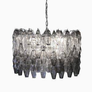 Italienischer Mid-Century Kronleuchter aus Klarem & Grauem Murano Glas von Carlo Scarpa