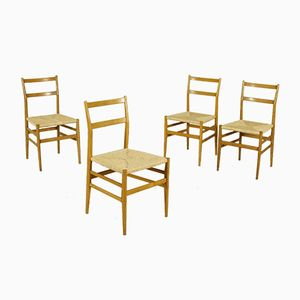 Vintage Leggera Chairs in Ash & Raffia by Gio Ponti for Cassina, Set of 4