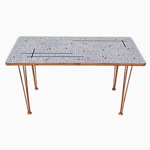 East German Glass Mosaic Side Table with Copper Finish from Günther Anders, 1962