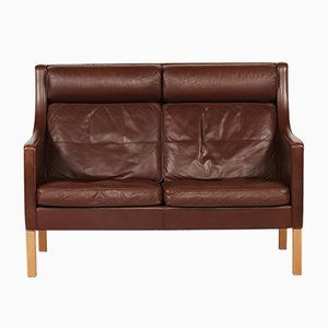 Danish 2432 Leather and Oak Sofa by Børge Mogensen for Fredericia Furniture, 1970s