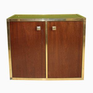 Italian Teak, Gold-Plated, Chrome, & Mirror Glass Cabinet, 1970s