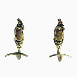 Vintage Brass Clothes Hooks, Set of 2