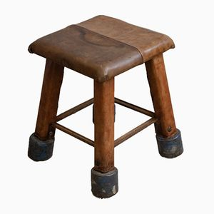 Industrial Vintage Leather Stool, 1930s