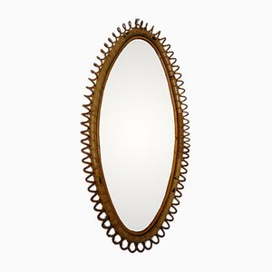 Large Italian Rattan Mirror, 1960s