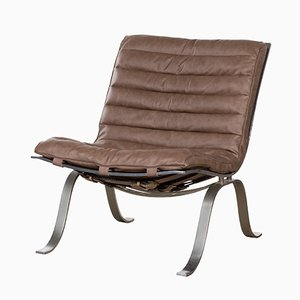 Mid-Century Swedish Ariet Leather Lounge Chair from Arne Norell
