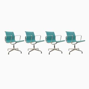 Turquoise EA108 Aluminum Office Chairs by Charles & Ray Eames for Vitra, 1980s, Set of 4
