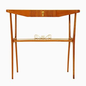 Italian Wood & Glass Console Table, 1950s