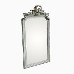 Großer Antiker Französischer Spiegel mit Stuckrahmen