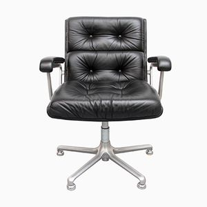 Black Leather Office Chair from Girsberger, 1970s