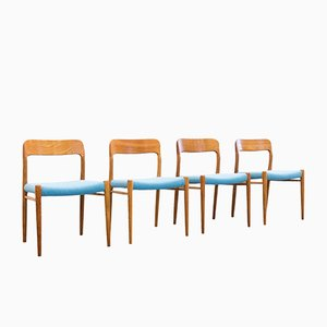Mid-Century Model 75 Oak Dining Chairs by Niels Otto Møller for J.L. Møllers, Set of 4