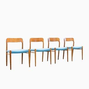 Mid-Century Modell 75 Eiche Esszimmerstühle von Niels Otto Møller für J.L. Møllers, 4er Set
