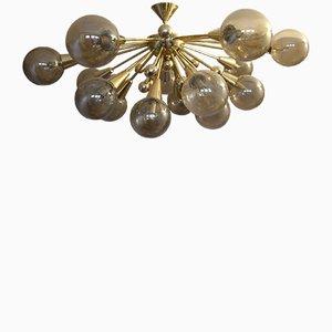 Vintage Gold Semi Sputnik Ceiling Light with Murano Glass