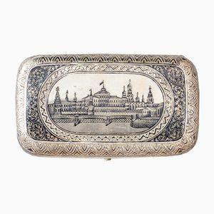 Russisches Zigarrenetui mit Landschaftsbild, 1900