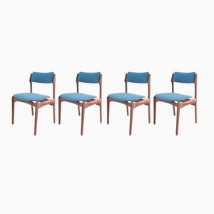 Mid-Century Danish Rosewood & Wool Dining Chairs, Set of 4