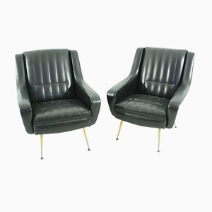 Black Armchairs, 1950s, Set of 2