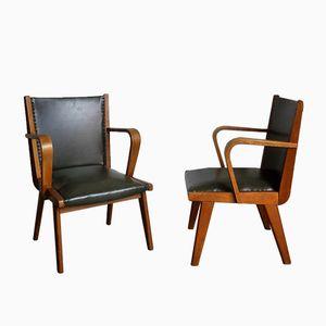 Armlehnstühle aus Eiche & Skai, 1960er, 2er Set