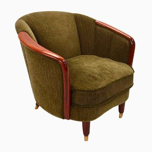 Norwegian Green Velour Fabric & Teak Armchair, 1950s