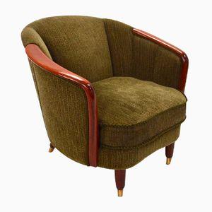 Norwegischer Sessel aus Grünem Velours und Teak, 1950er