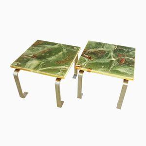 Vintage Beistelltische aus Grünem Marmor, 2er Set