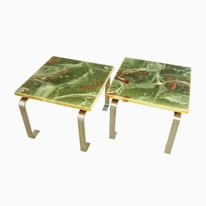 Vintage Green Marbled End Tables, Set of 2
