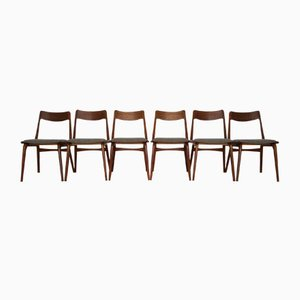 Vintage Danish Teak Boomerang Dining Chairs By Erik Christensen For  Slagelse Møbelværk, Set Of 6