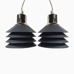 Grey Minimalist Tip Top 4 Pendant Lights by Jorgen Gammelgaard for Pandul, 1980s, Set of 2