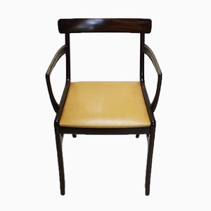 Vintage Danish Rungstedlund Mahogany & Leather Armchair by Ole Wanscher for Poul Jeppesens Møbelfabrik
