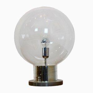 Große Mid-Century Chrom & Glaskugel Tischlampe von Raak