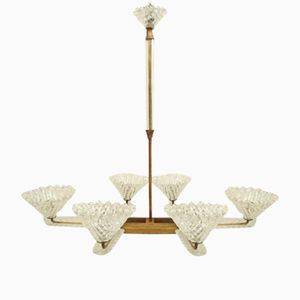 Art Deco Murano Glass Chandelier by Ercole Barovier for Barovier & Toso, 1930s