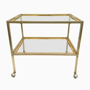 Vintage Italian Trolley with Removable Tray in Brass and Chrome