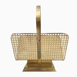 Vintage Italian Magazine Rack in Brass